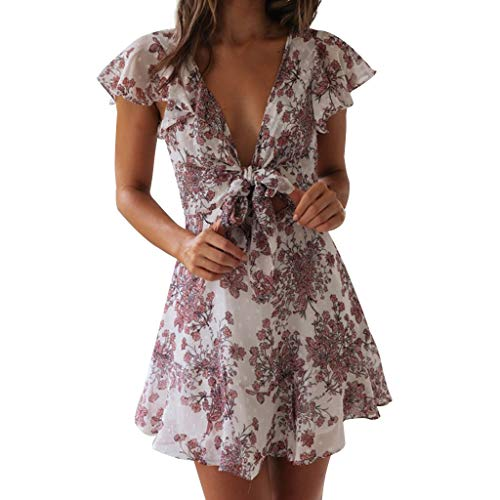 NPRADLA Tendenza per Il Tempo Libero Womens Boho Floral Summer Party Evening Beach Short Mini Dress Summer Summer Discount Primavera Estate 2019