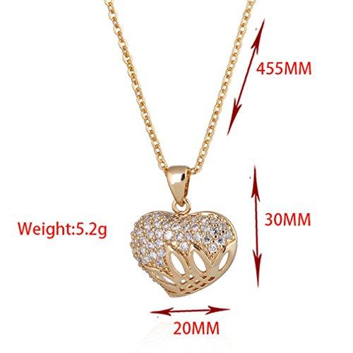 YAZILIND Unique Design Femmes Bijoux 18K Gold Filled chaîne pendentif en cristal zircon Collier cadeau Coeur d'amour