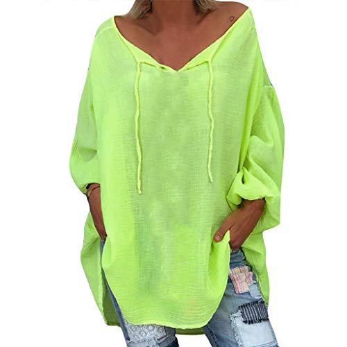 Lazzboy Frauen Lose Plus Size Solid Langarm V-Ausschnitt Pullover Tops Shirt Casual(Grün,XL)