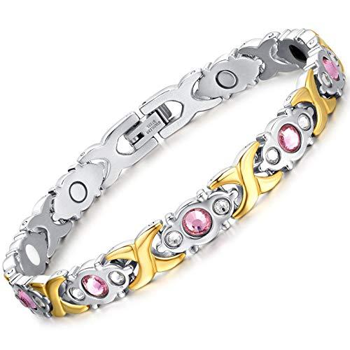 Jeracol Magnetarmband Damen mit Titanstahl-Magnetfeldtherapie zur Schmerzlinderung bei Arthritis Magnet Armband für Frauen mit Entfernen Werkzeug & Elegante Geschenkbox für Weihnachtsgeschenk.