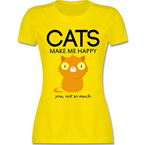 Katzen - Cats make me happy - you not so much - tailliertes Premium T-Shirt mit Rundhalsausschnitt für Damen Lemon Gelb