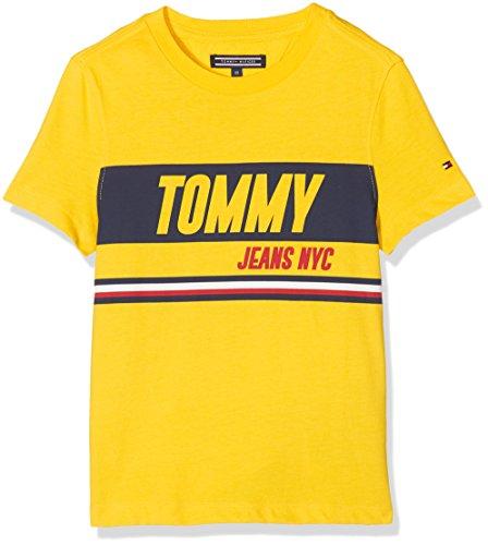 Tommy hilfiger ame sporty block panel tee s/s, t-shirt bambino, giallo (empire yellow 711), 176 (taglia produttore: 16)