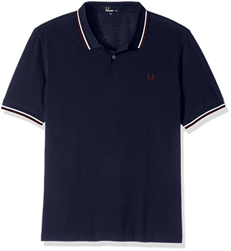 Fred Perry Herren Poloshirt Twin Tipped Shirt Blau (Carbon Blue / Snow White / Aubergine E35)