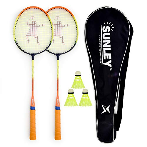 SUNLEY Swag Body Badminton Racket Set of 2 with 3 Pieces Nylon shuttles with Attractive Cover