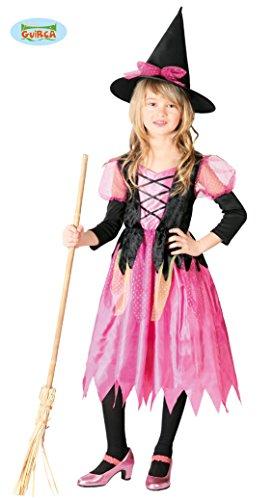 Guirca Hexenkostüm für Mädchen 5/6 Jahre, Farbe Rosa und Schwarz, 110/116 (Rosa Und Schwarze Hexe Kostüm)