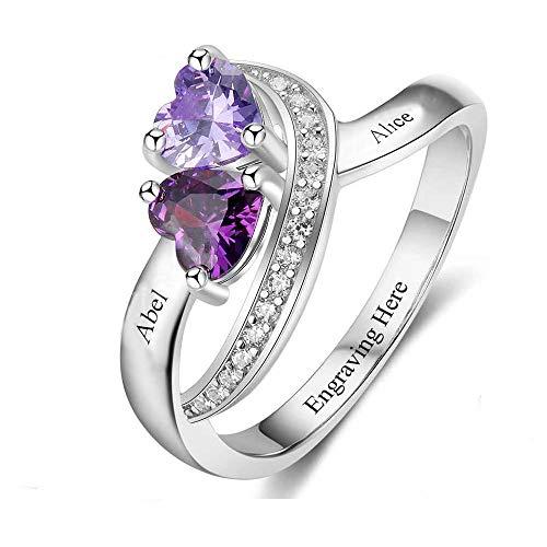 TWinkle Zwei Herz Verlobungsring Promise Ring für Sie mit 2 Birthstones 2 Namen 925 Sterling Silber Ring Familieringe Geburtsstein Ringe(Silber-22.9)