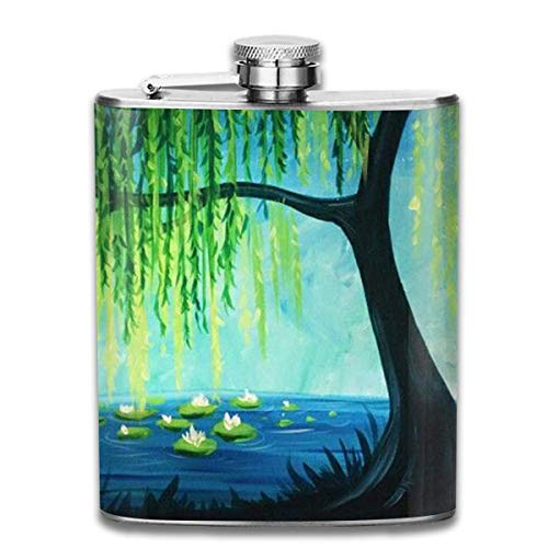 7 Oz Stainless Steel Flasks Willow And Pond Leak Proof Wine Liquor Whiskey Flask Groomsman Bridesmaid Flask Hip Flask Pocket Flask - Willow Pond