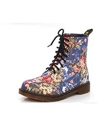 JUWOJIA Mujer Botas Martin Zapatos De Flores De Moda con Cordones Motocicleta Oxfords Pisos Botines para Mujer Casual Primavera Otoño, Azul, 5