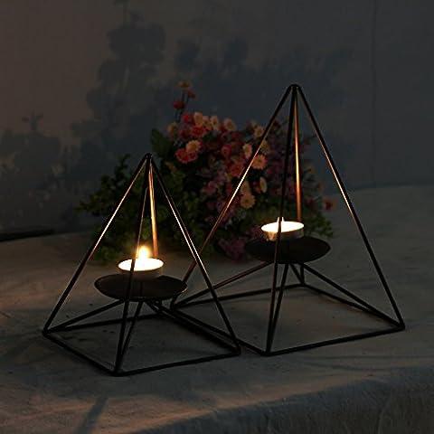 home-organizer Tech Geometrische contracted Pyramide Form schwarz Eisen Kerzenständer Kerzenhalter Eisen Kerzenständer Kerzenhalter, schwarz, L