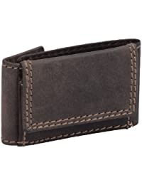 Mini-cartera AVANCO, de cuero, marrón oscuro 8x5x1,5cm