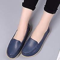 Mujer Zapatos Planos Suave Cuero Real Único Mocasines Bajo El Talón Deep Blue Round Toe Slip