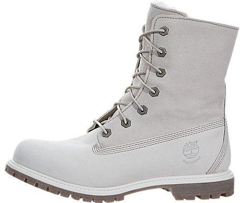 watch ba341 fc372 Timberland Women s Authentics Waterproof Fold-Down Teddy Fleece Boots White,  ...