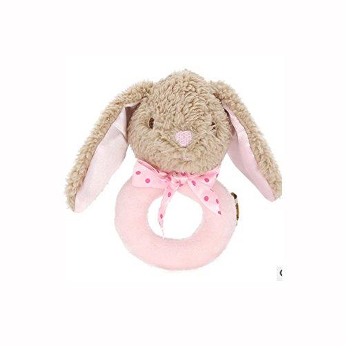 Baby Rassel Glocken, Isuper Plüsch Rassel Spielzeug Hand Glocken Kleinkindspielzeug für Baby ab 3 Monaten (Rosa Häschen)