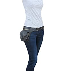 Eyes of India - Black Leather Belt Waist Bum Hip Pouch Bag Utility Fanny Pack Pocket Travel