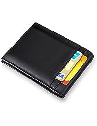 MPTECK @ Negro Cartera Clip de Dinero Billetero Tarjetero para hombre RFID Bloqueo Slim Estilo plegable Monedero Billetera de PU Cuero con Bolsillo para Identificación Tarjetas Crédito Licencia de conducir