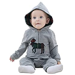 MICHLEY Elk Style Cotton Hooded Jumpsuit Baby Rompers Cute Playsuits Spring and Autumn