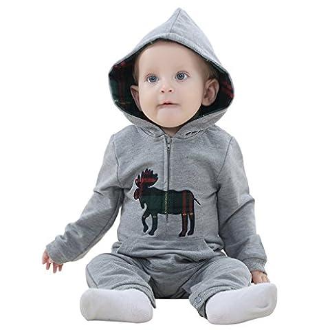 MICHLEY Herbst kleiner Junge vermummte overall baby strampler bekleidung grau 80CM (Bären-kostüm Für Baby)