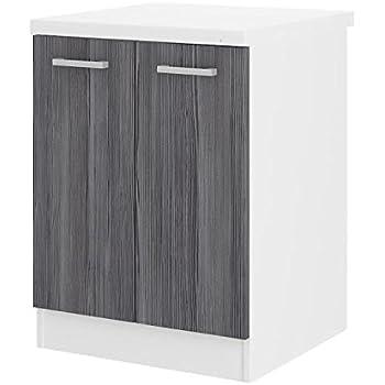 ultra meuble bas de cuisine 60 cm avec plan de travail inclus dcor chene gris