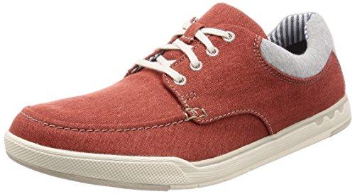 Clarks Step Isle Lace, Zapatos de Cordones Derby para Hombre, Rojo (Rust Canvas), 41 EU