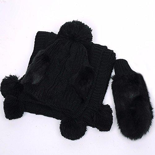 BBSLT Tre pezzi a soddisfare una calda lana hat sciarpa guanti Hat ragazza versione coreana fluisce in inverno i regali di Natale,Nero