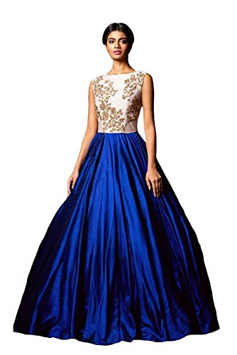 Clickedia Women\'s Bhagalpuri Silk Blue & White Semi - Stitched floor length Gown