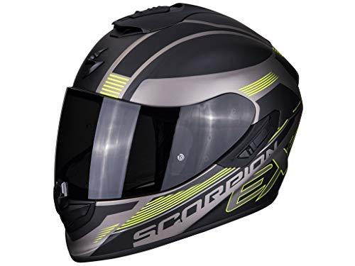 SCORPION Casque moto EXO-1400 AIR FREE Matt Titanium-Black-Neon yellow, Noir/Jaune, XL