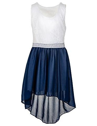 Modisches Mädchen Sommerkleid in 7 Farben (14 / 152 / 158, #175dbl Dunkel Blau)
