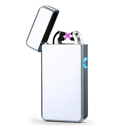 USB Elektronisches Feuerzeug Juleya Dual Lichtbogen Aufladbar Winddicht Flammenlose Silber