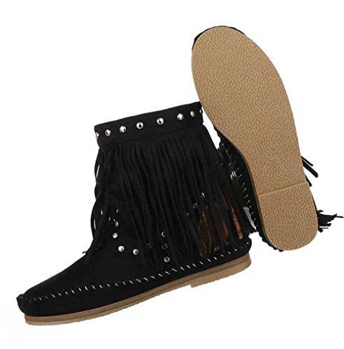 Damen Stiefeletten Schuhe Boots Designer Schlüpfstiefel mit Fransen und Nieten Schwarz 37 pXHCw4