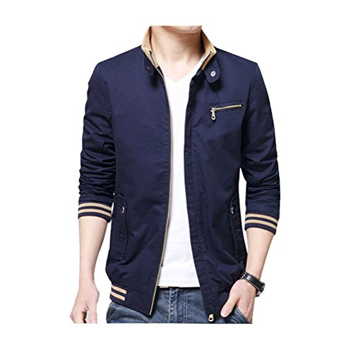 Zhhlinyuan Manteaux Men's Spring Casual Cotton Coat Zipped Jacket Stand Collar Outerwear blue
