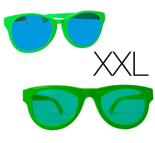 2x XXL Rießen Scherzbrille neon Partybrille Sonnenbrille neon Brille Unisex für Fasching und Karneval Kostüm (2x XXL neon Brille) (2x Xxl T-shirt)