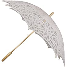 La Moda De Algod¨®n Hecho A Mano Sombrillas De Encaje Paraguas Nupcial De La Boda De Color Beige Partido