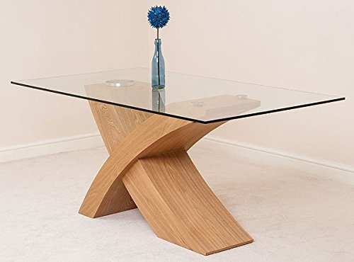 Valencia Small Oak 160cm Modern Glass Dining Table with 6 Solid Oak ...