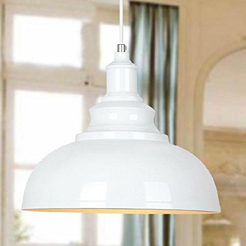 BAYCHEER Hängeleuchter Deckenleuchte Industrielampe Vintage Lampenschirm E27 Durchmesser 30CM höhenverstellbar Weiss