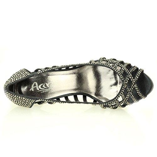 Femmes Dames Soir Mariage Party Haute Talon Stiletto Diamante Peep Toe De Mariée Sandale Chaussures Taille (Or, Argent, Noir) Noir