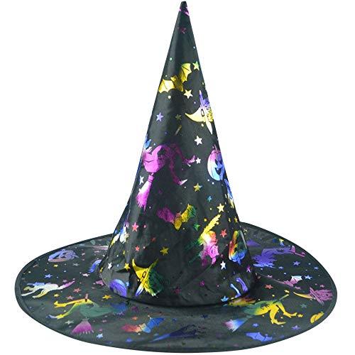 GOKOMO Der Hexenhut der Erwachsenen Frauen Mens für Halloween-Kostüm-Zusatz spielt gedruckte Kappe die Hauptrolle