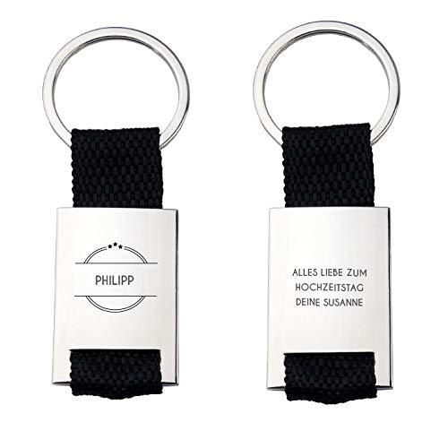 Geschenke.de Personalisierter Schlüsselanhänger mit Gravur für Männer