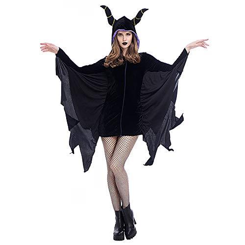 DuHLi Black Evil Vampire Bat Kostüm Overall Erwachsene Black Bat Mans Scary Bat Schlaf Fluch Horn Cosplay Halloween Kostüme (Geschenkstrümpfe),L (Scary Halloween-kostüme Mens)