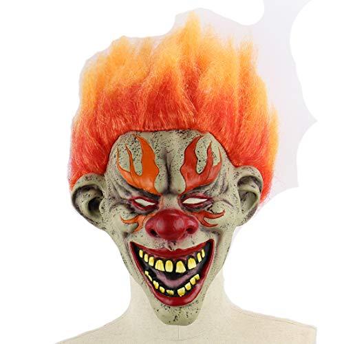 Halloween Latex Maske Gruselig Flamm Clown Mit Feuer -