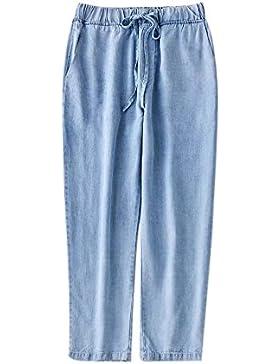Oneforus Pantalones Harem de Cintura Elástica de Verano Nueva Cintura de Algodón Pantalones Casuales