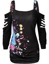 LILICAT® Camiseta de Calado con Estampado de Salpicaduras, Camiseta de Manga Corta con Corte de Encaje para Mujer Hollow out Blood Splatter Tops