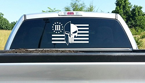 lafzimmer Molon Labe Helmet Skull Punisher Three Percent Flag Decal 12 Inch x 18 Inch Die Cut Decal Sticker For Windows, Cars, Trucks, Laptops, Etc (12 x 18 inches) ()