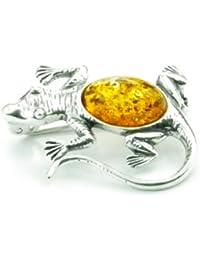 Lovely 925 de plata de ley y ámbar Báltico y broche con forma de joyas - SilverAmber 4108