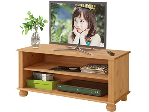 Massive Kiefer Holz Tv-schrank (MACON TV-Lowboard TV-Bank Fernsehtisch 95 x 45 cm Kiefer massiv gebeizt geölt)