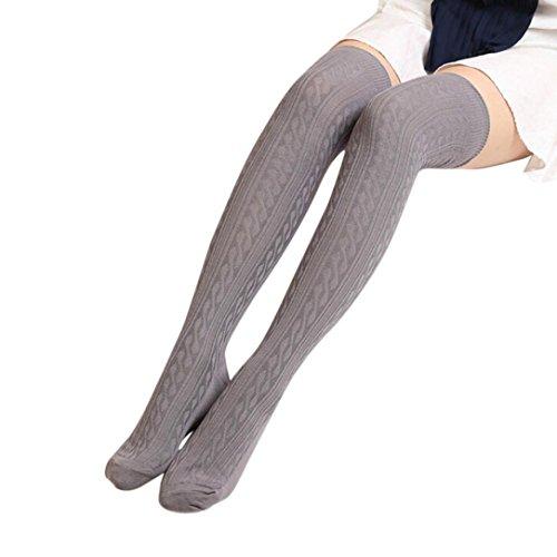 mpfe FORH Damen Gestrickt über Knie lange Stiefel Oberschenkel warme Socken Leggings Thigh High College Knie Socken Stricken Sport Socken Stocking Pantyhose (Grau) (Schenkel-hoher Strumpf Kaffee)