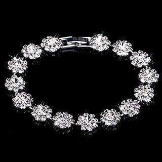 Snowflake Bracelet Rhinestone Inlay Adjustable Opening Crystal Bracelet Wedding Accessories