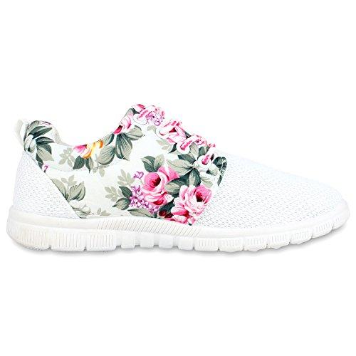 Flache Unisex Damen Herren Laufschuhe Profilsohle Sportschuhe Schnüren Sneakers Freizeitschuhe Weiss Flower