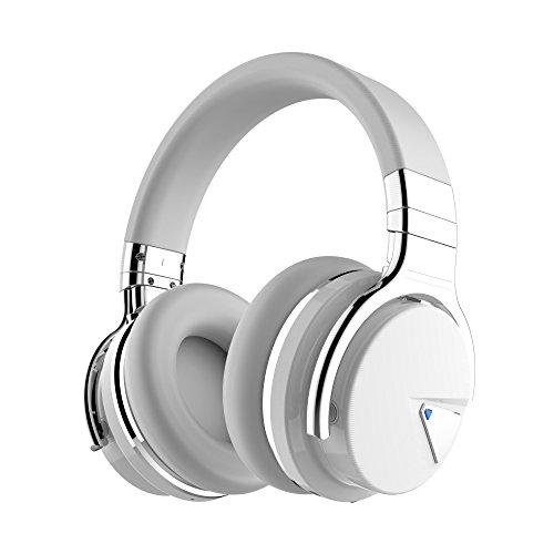 COWIN E7 Active Noise Cancelling Kopfhörer Bluetooth-Kopfhörer mit Mikrofon Tiefe Bässe Drahtlose Kopfhörer über dem Ohr, Bequeme Eiweiß-Ohrpolster, 30 Std. Spielzeit für Reise-Work-TV PC (Weiß)