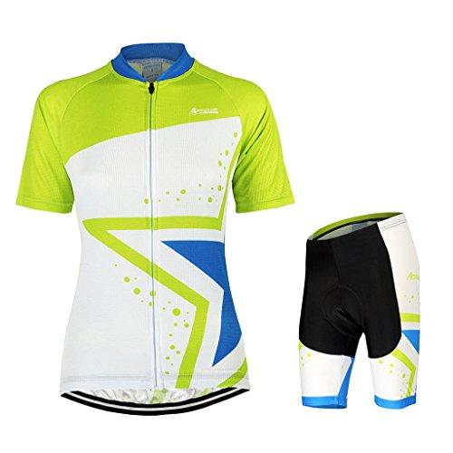 GWELL Damen Fahrradtrikot Set Fahrrad Anzug Fahrradbekleidung Trikot Kurzarm + Radhose mit 3D Sitzpolster grün blau XL