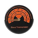 ATuniby magnetischer Kaminofen Rauchrohr-Thermometer Temperaturanzeige für Holzscheite Brenner Kamin Legierung (orange)